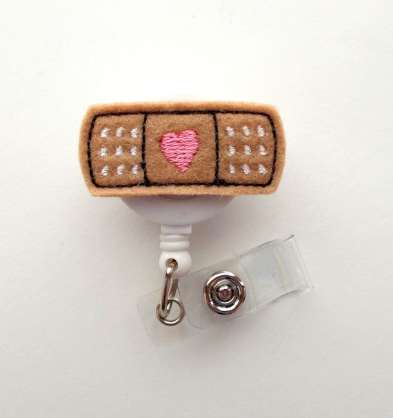 Bandaid - Retractable ID Badge Reel - MD Badge Holder - Cute Badge Reel - Nurse Badge Holder - Nursing Badge Clip - Felt Badge on Etsy, $6.00