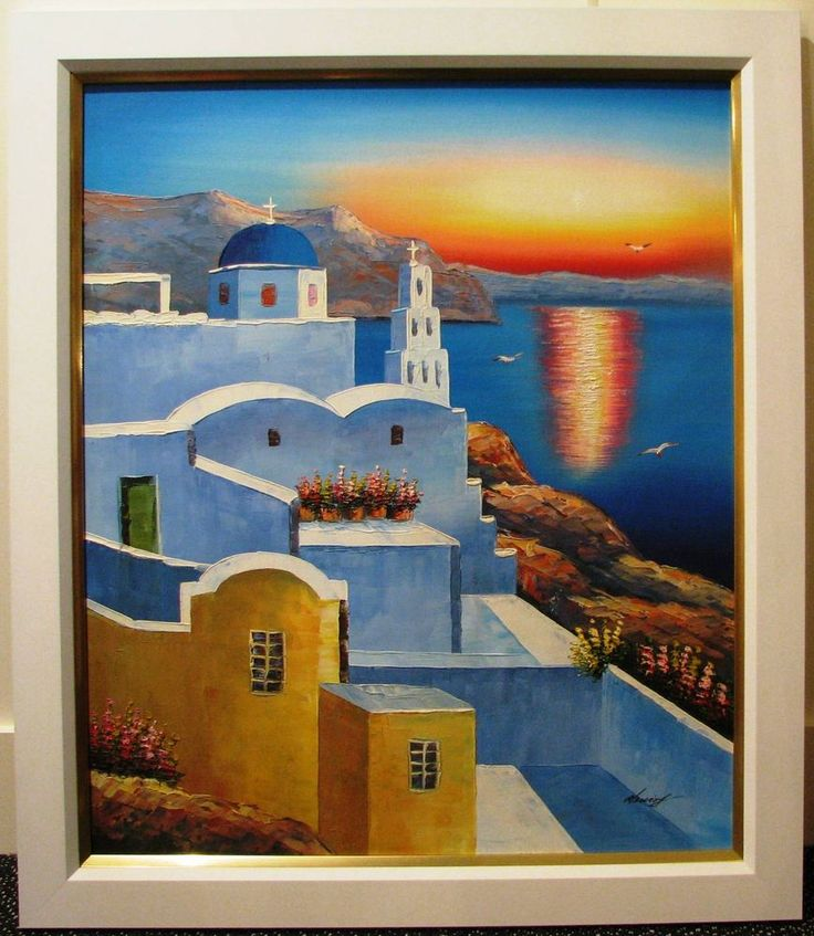 Original Greek Isle Coastal scene - Artist unknown
