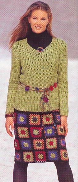 Go-go-granny square chic pencil skirt: charts/diagrams