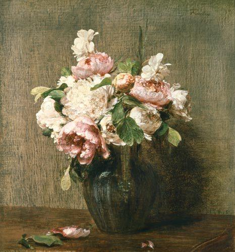 Titre de l'image : Henri Fantin-Latour - Pivoines Blanches et Roses, Narcisses