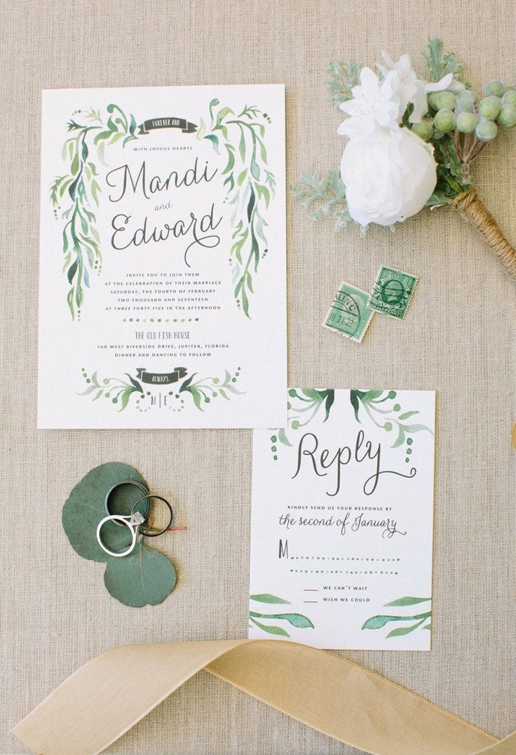 vintage wedding invitation text%0A A Neutral  u     Chic BohoVintage Garden Wedding  Greenery Watercolor Wedding  Invitation