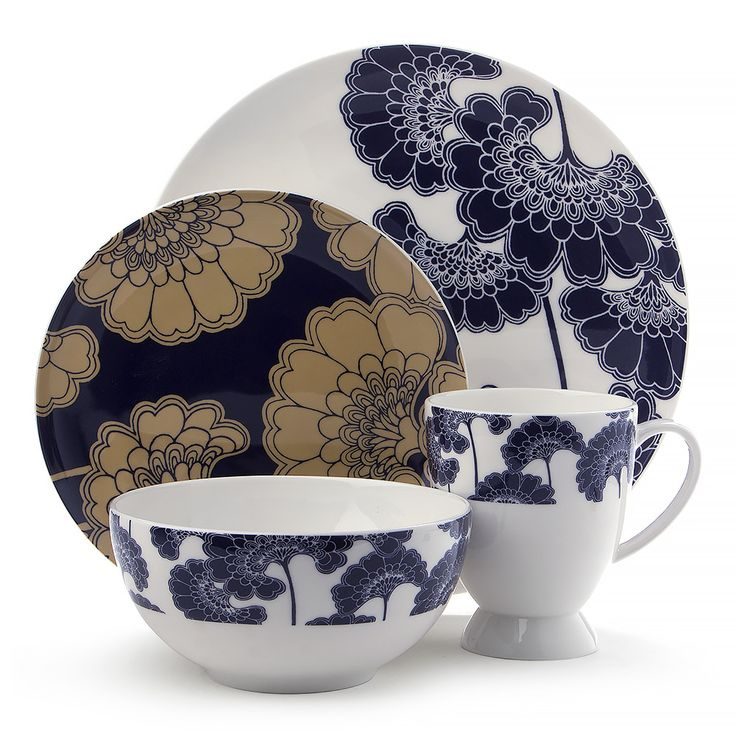 Florence Broadhurst was renowned for her flamboyant clothing choices, antique jewellery designs and her wallpaper prints. These pattern designs were not only utilised for walls. They were also replicated onto rugs, sofas, crockery, jewellery, ceilings, furniture items etc. this image is one of Florences Japanese Floral Navy Dinner set prints.