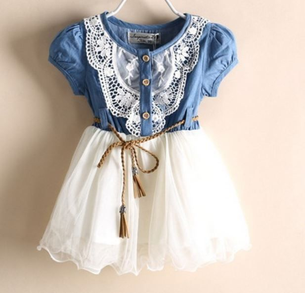 READY FOR SHIPPING Girls Denim Dress for Girls- Cowgirl Western Style Toddler Girls Denim Tutu Dress Denim Floral Dresses 1T,2T,3T,4T
