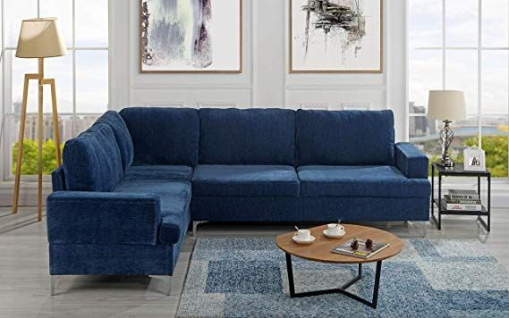 Velvet 101 5 Inch Sectional Sofa Classic Living Room L Shape Couch Navy Classic Living Room L Shaped Couch Sectional Sofa