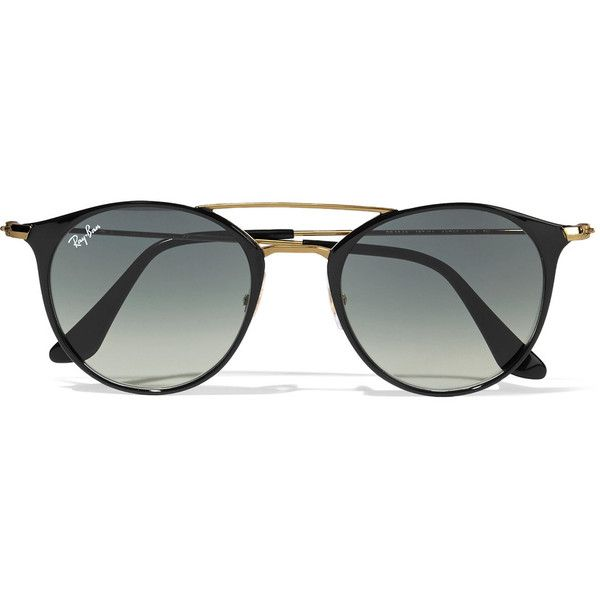 Ray-Ban Round-frame acetate and gold-tone sunglasses (£140) ❤ liked on Polyvore featuring accessories, eyewear, sunglasses, glasses, accessories - glasses, black, retro round sunglasses, ray ban sunnies, round sunglasses and ray ban glasses
