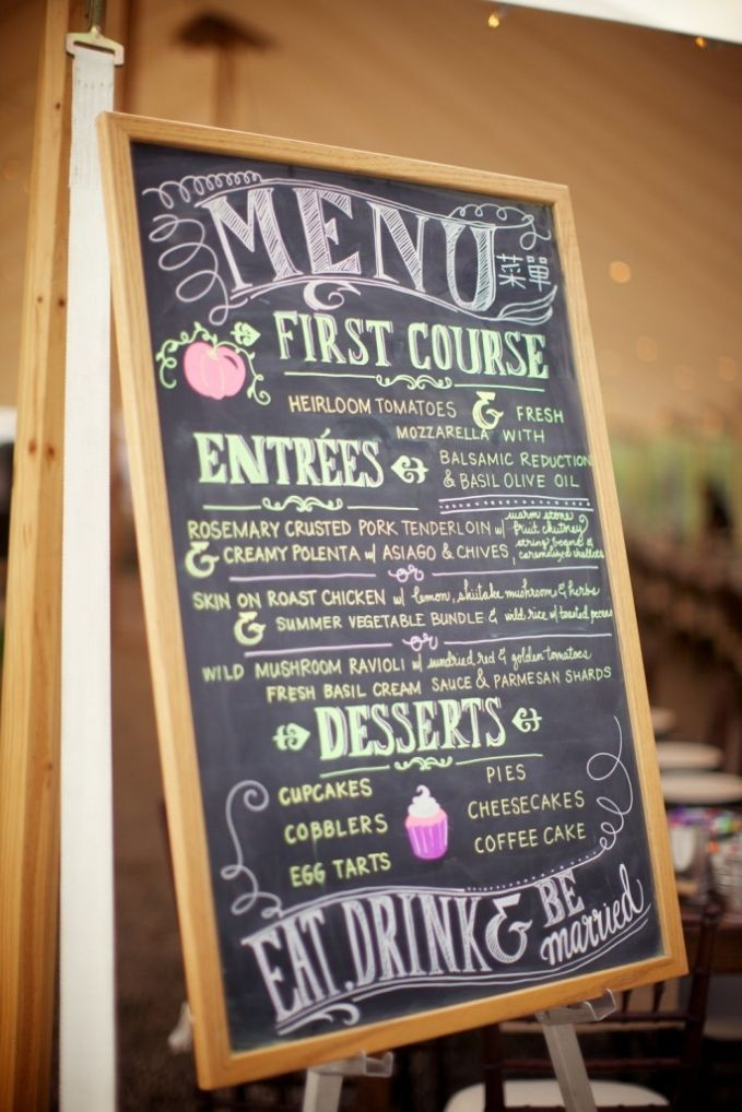 Fall in Love with Creative Chalkboard Wedding Ideas- maybe have your aunt do it?