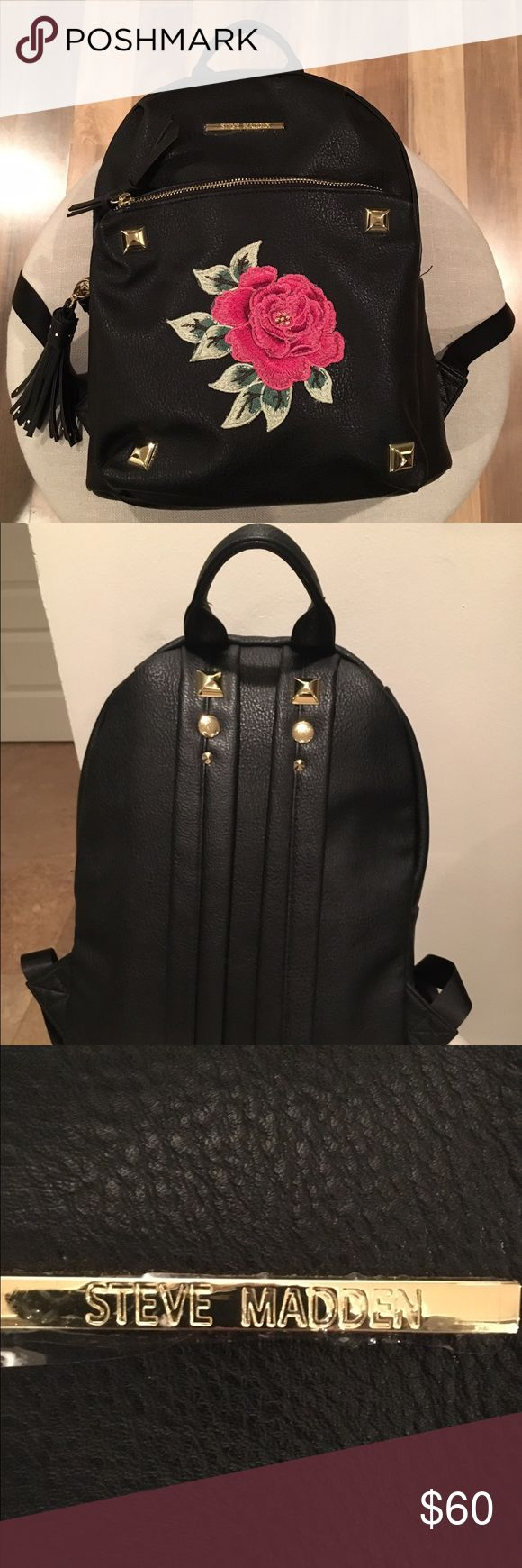 Brand new Steve Madden backpack This is a cute new Steve Madden backpack. Black with a pink rose design on the front. Gold colored embellishments and a black tassel (removable). Never used! Steve Madden Bags Backpacks