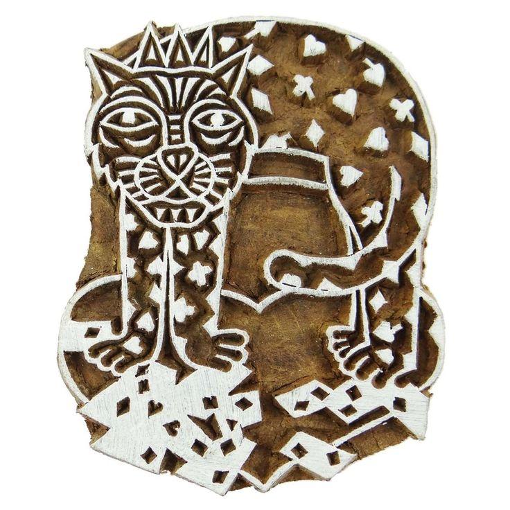 Indian Wooden Textile Stamps Printing Block Wood Block Art Cat Decorative Block
