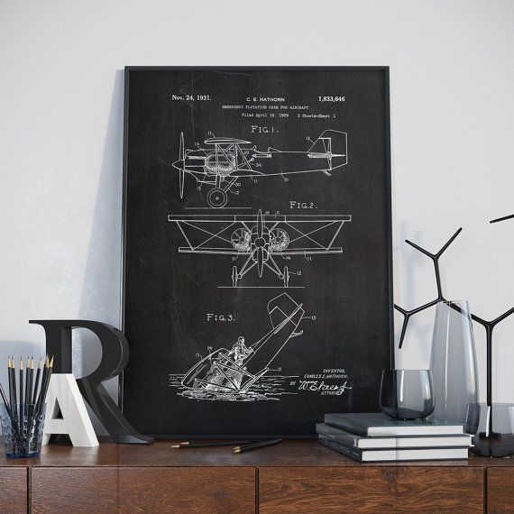 Patent Print Biplane Aircraft Patent Poster Airplane by dalumna