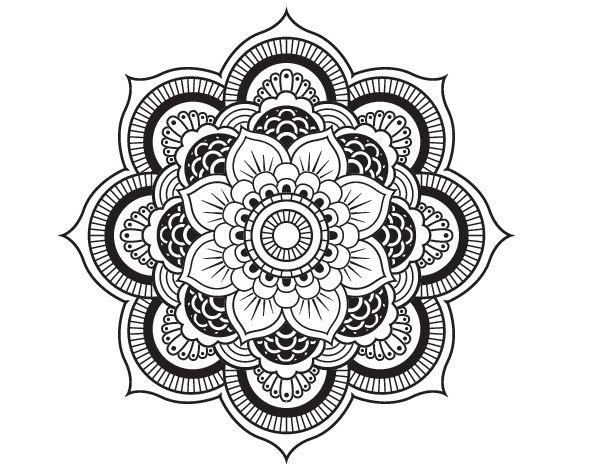 Dibujo de Mandala flor oriental