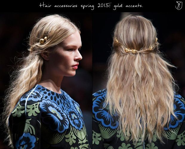 Gold shells at Valentino, S/S '15. Valentino's oceanic-goddess hair made the most out of the gorgeous soft, boho-waves trending all over the sprin