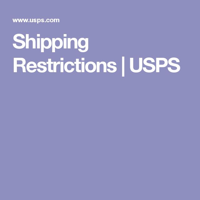 Shipping Restrictions | USPS