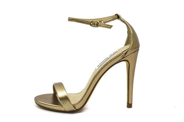 sandalo con tacco dorato