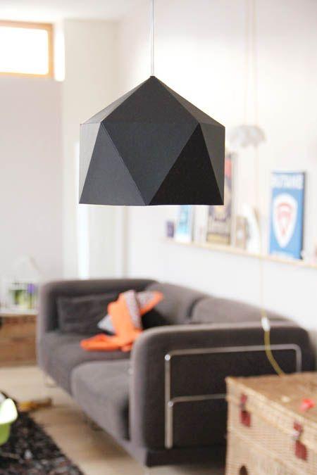 DIY geometric paper pendants - lamp