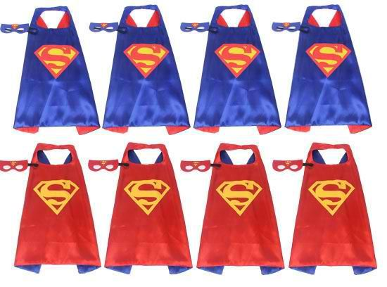 Set of 10 Superman Cape and mask, Superman Cosplay, Superman Costumes, Supermen Birthday Party Favor
