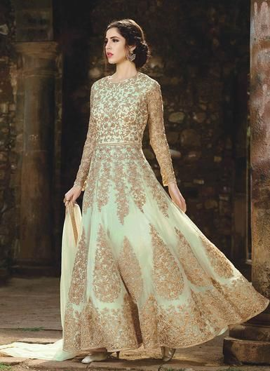 9a41a9566e Light Green and Gold Embroidered Net Anarkali   Anarkali suits in ...