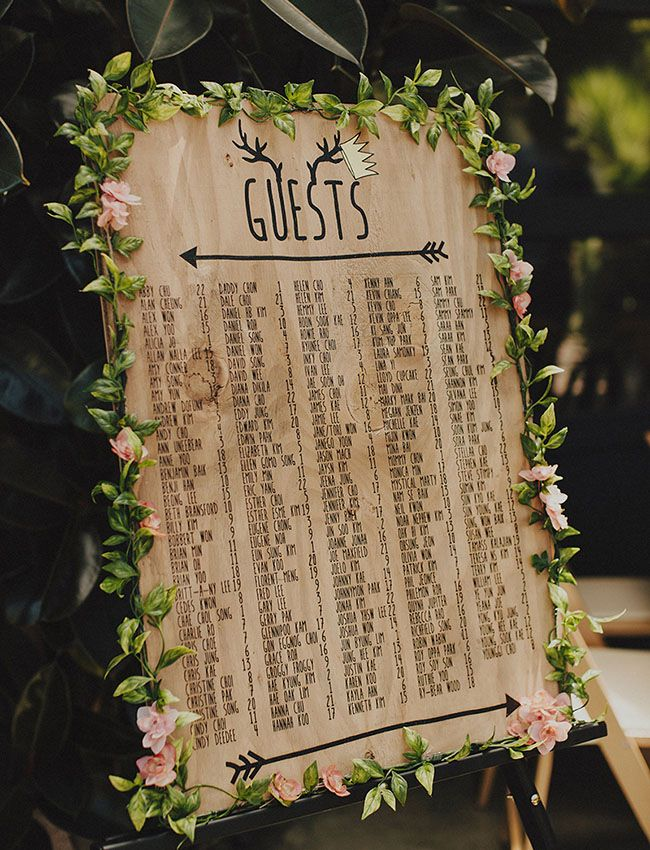 whimsical alphabetical seating chart on plywood with floral accent