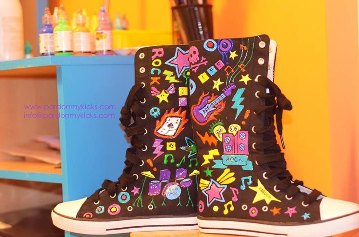 These custom, hand painted Rock n Roll themed kicks were made for a special birthday girl who just turned Nine!!  WWW.PARDONMYKICKS.COM INFO@PARDONMYKICKS.COM