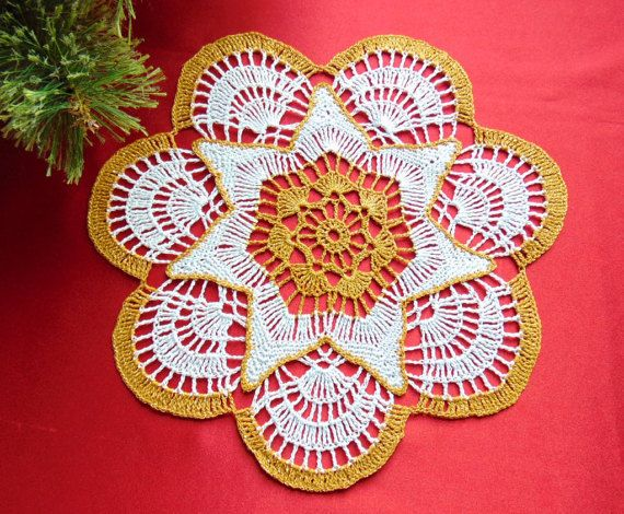 Gold and White Christmas Lace Doily Crochet Table by MaddaKnits