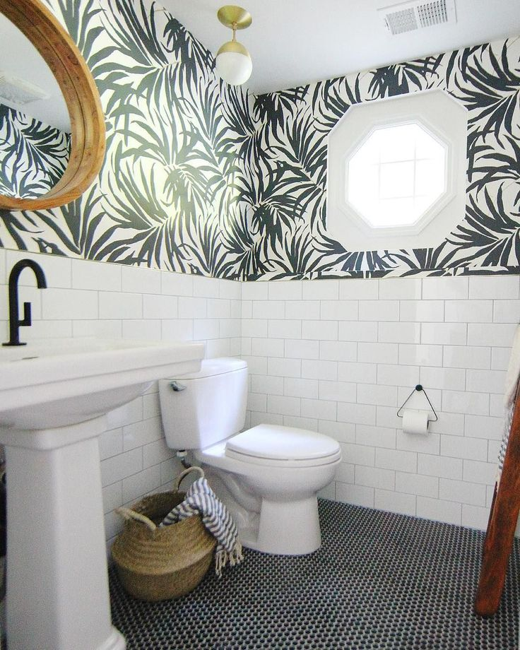 Black And White Tile In Bathroom: Black And White Bathroom. Black Penny Tile On Floor. White