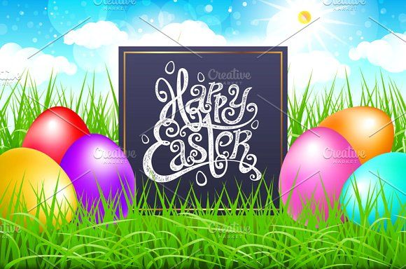 happy easter lettering Colorful eggs by Rommeo79 on @creativemarket