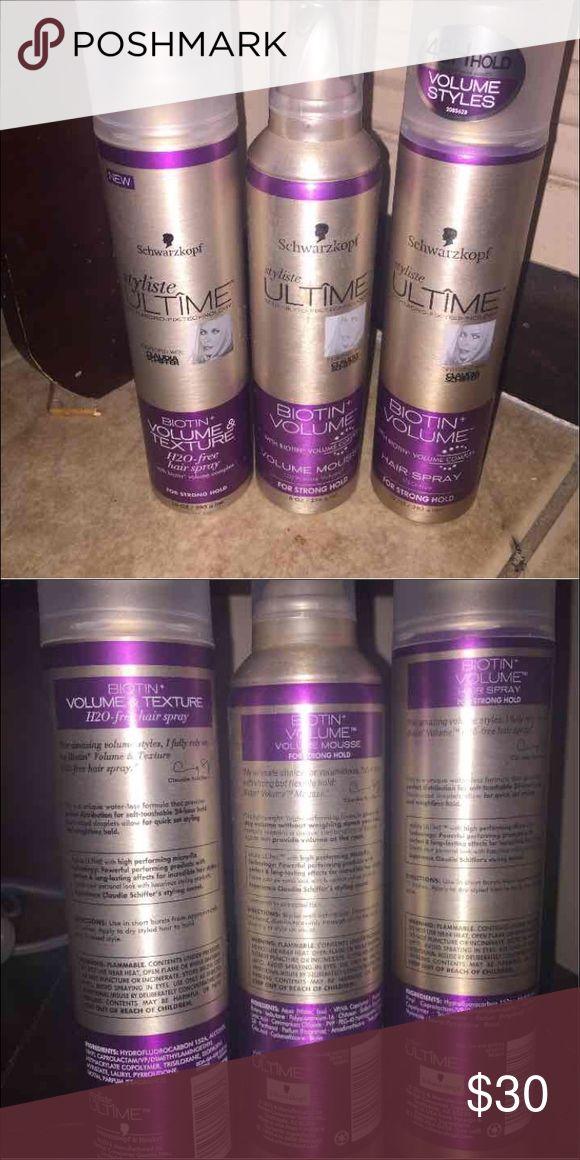 Schwarzkopf hair products Schwarzkopf hair products.  1 Biotin + Volume Hair Spray 10fl oz/200 mL  1 Biotin + Volume &  Texture Hair Spray 10fl oz/200 mL  1 Biotin + Volume Mousse 8 fl oz All new. Other
