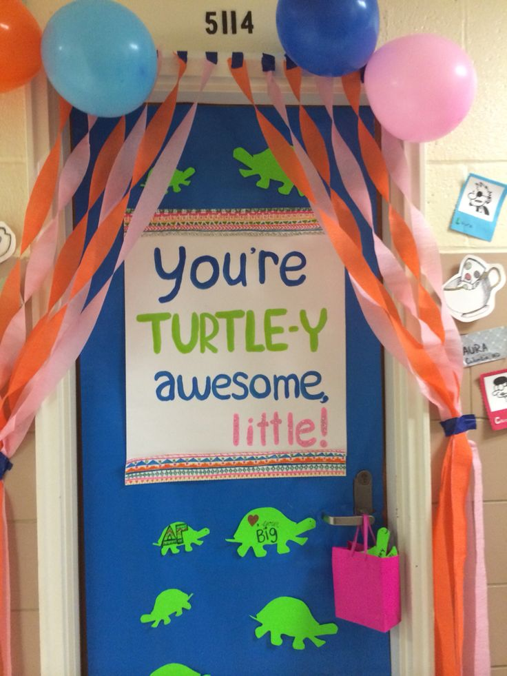 Big little sorority door decorations Turtle pun, delta gamma