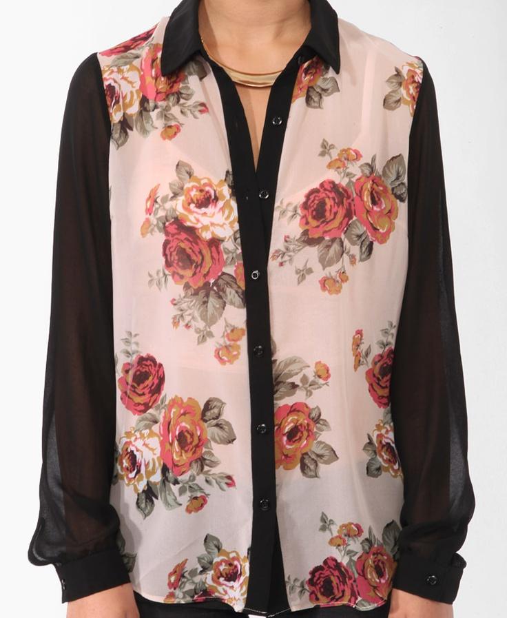 : Floral Prints, Sheer Floral, Style, Shirts 1980, Shirts 19 80, Prints Shirts
