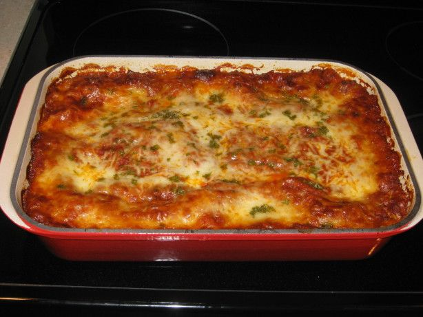 This recipe by Lorri Foockle won Grand Prize in a Taste of Home magazine. With five kinds of cheese it is by far THE BEST lasagna Ive ever tasted!