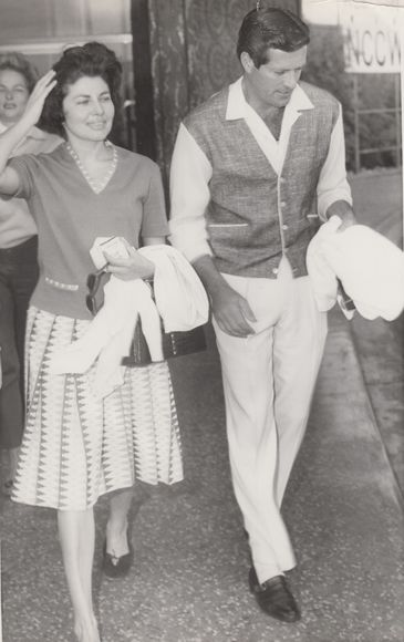 Ava Gardner and Hugh O'Brien hit the town circa 1965 at The Sands. Garnder was married to Frank Sinatra from 1951 to 1957, and was a lover of Las Vegas. Although O'Brien may best be known for portraying Wyatt Earp in the 1950s, he continues to act to this day.