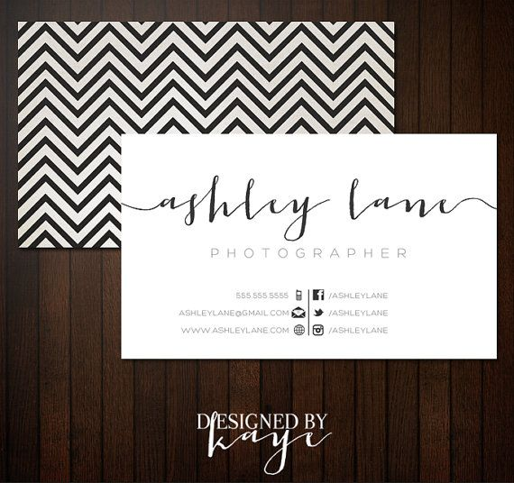 Premade Business Card Set for Photographers and Small Businesses, modern elegant, pretty, texture linen chevron