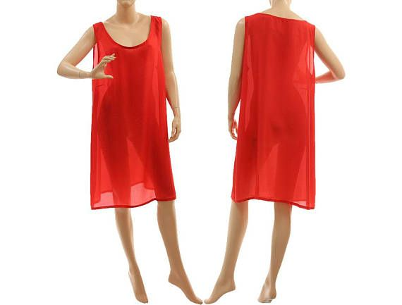 Red silk slip dress with wide straps red silk lingerie dress