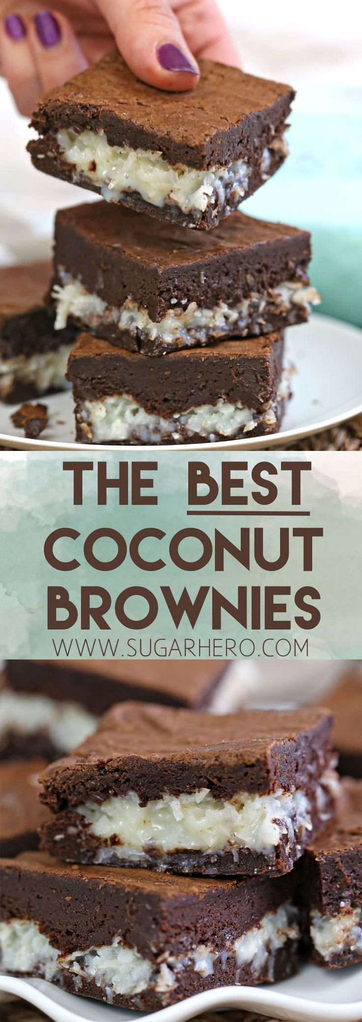 The BEST Coconut Brownies! Rich, fudgy brownies and a gooey coconut center. Better than a candy bar! | From SugarHero.com #SugarHero #brownies