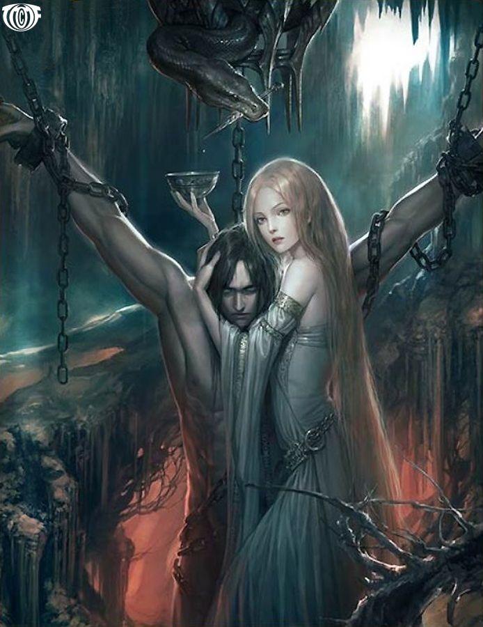 Loki and Sigyn. El castigo de los dioses por el asesinato de Balder. Aún así, Sigyn continúa a su lado, protegiendole del veneno salvo unas pocas gotas que no puede recoger cuando va a vaciar el cuenco.