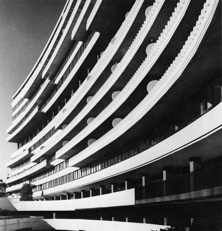 luigi moretti with fischer-elmore architects - the watergate apartments, washington, dc, 1964 ""