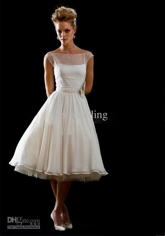 Vintage Sheer Wedding Dresses Bateau Neck Chiffon Tea Length Beach Dress With Floral Sash Summer Simple Gowns Discount