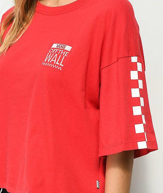 3d68059e Vans Checkerboard Red & White Crop T-Shirt in 2019 | Apparel Design ...