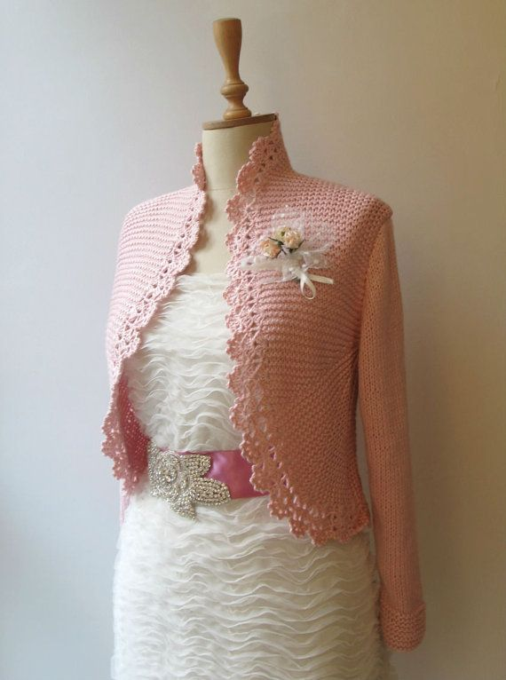 Blush Pink Knitted Bridal Shrug Cardigan By