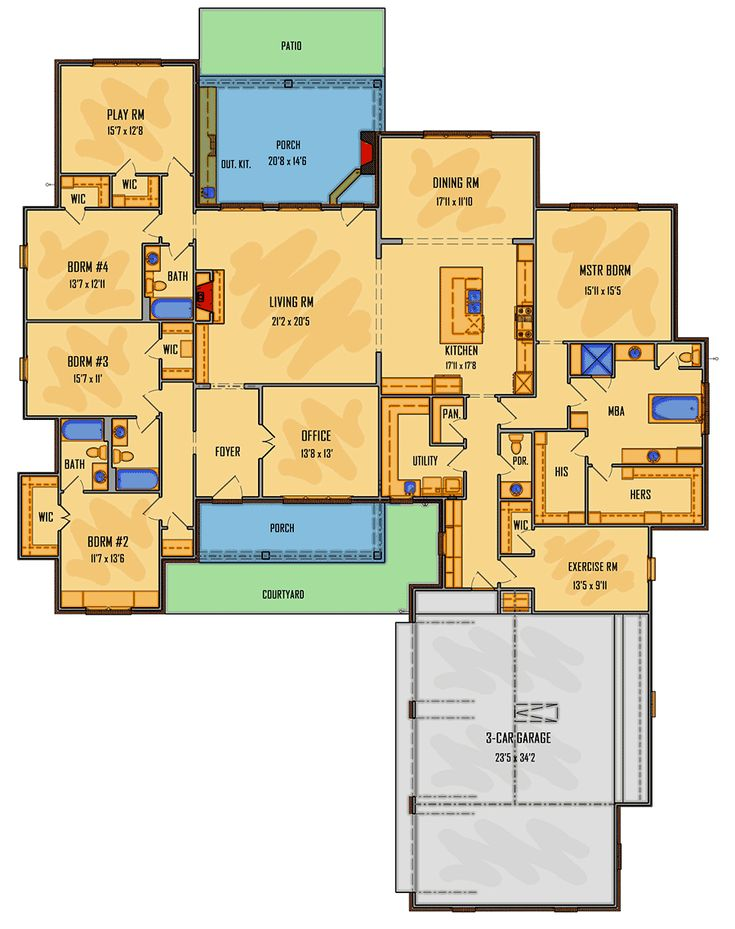 Plan 510101WDY: Attractive One-level House Plan with Split Bedrooms