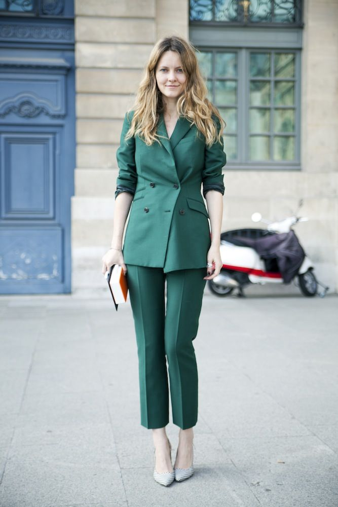 teal suit workwear streetstyle