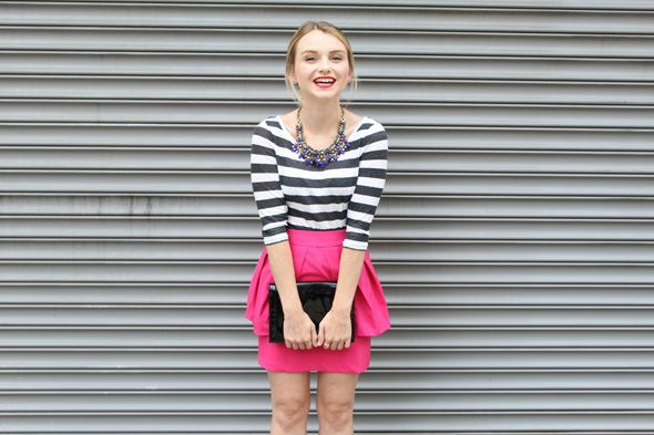 Poor Little It Girl in Aeropostale Striped T-shirt, Stella And Dot Necklace, Love Shopping Miami Pink Skirt, Zara Black Heels