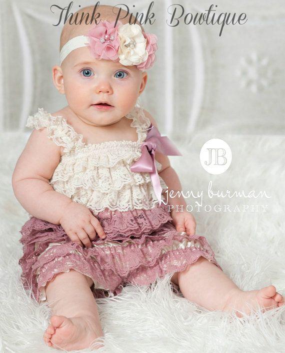 SALE! Petti lace romper,Baby girl Petti Romper, Petti Romper, Lace Romper,Ivory and mauve petti lace Romper, Bubble Romper,Baby lace romper.