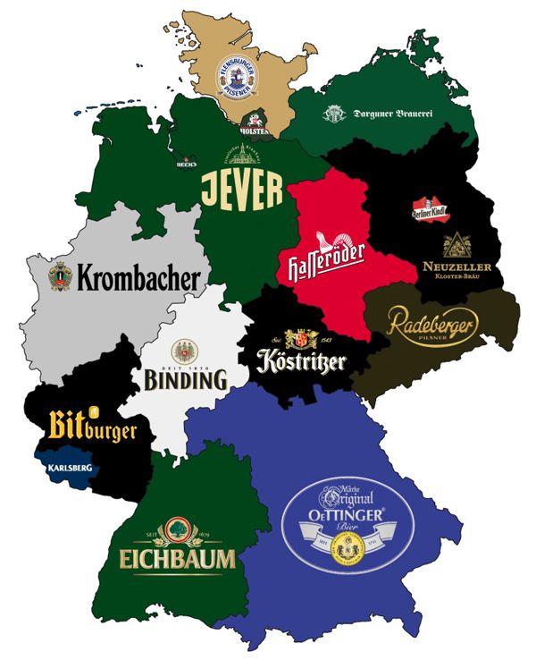 Mapa de Alemania con las cervezas estatales