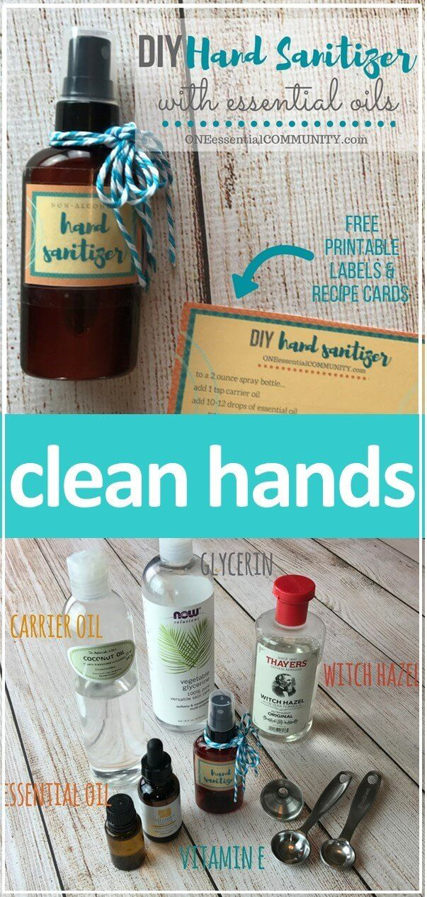 Simple DIY hand sanitizer spray recipe + free printable labels & recipe cards. Learn which essential oils are best for hand sanitizers with antiseptic, antiviral, antibacterial, and antimicrobial properties