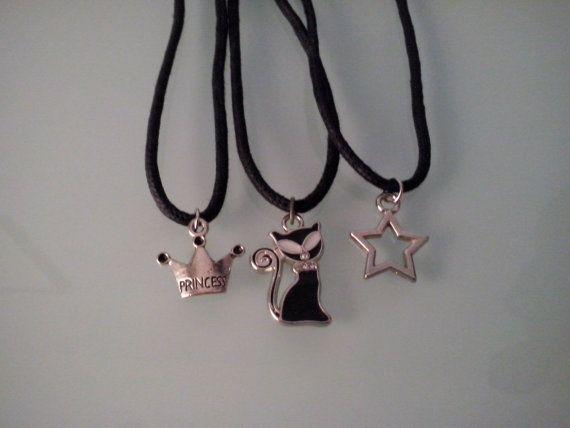 Metal Charm Pendants on  Black Wax Cotton by BittersweetTrinkets