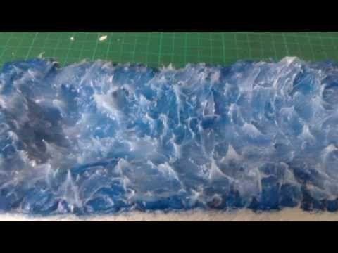 Tutoriel: Faire effets de l'eau et des vagues avec du silicone ==> une mer un peu agitée