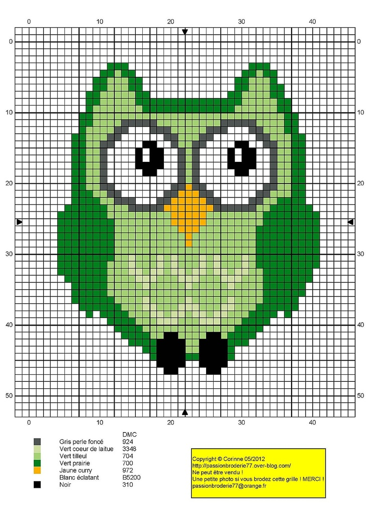 small green Owl hama perler beads pattern