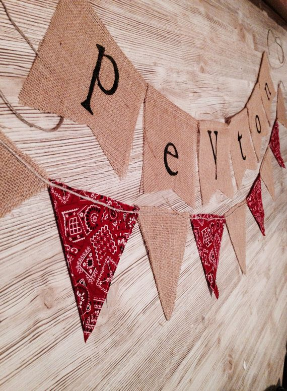 This personalized bandana and burlap banner set is perfect for your little cowboy or cowgirls birthday celebration or a western themed baby shower.