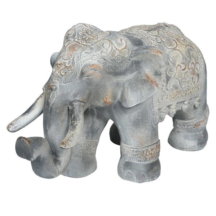 15 75 Rustic Elephant Garden Statue Made Of Resin Grey 400 x 300