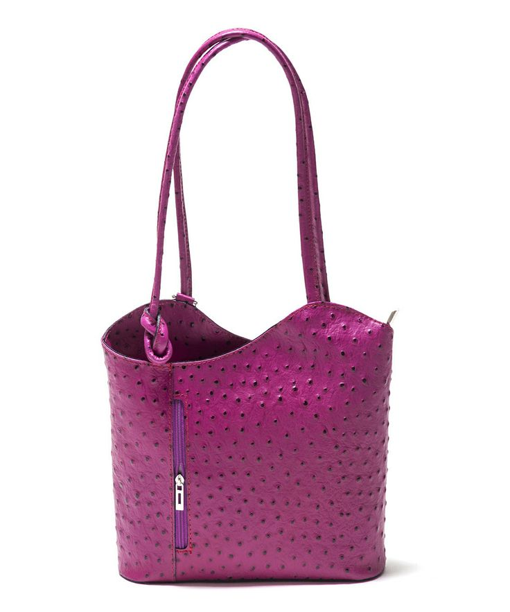 Purple Ostrich Leather Shoulder Bag